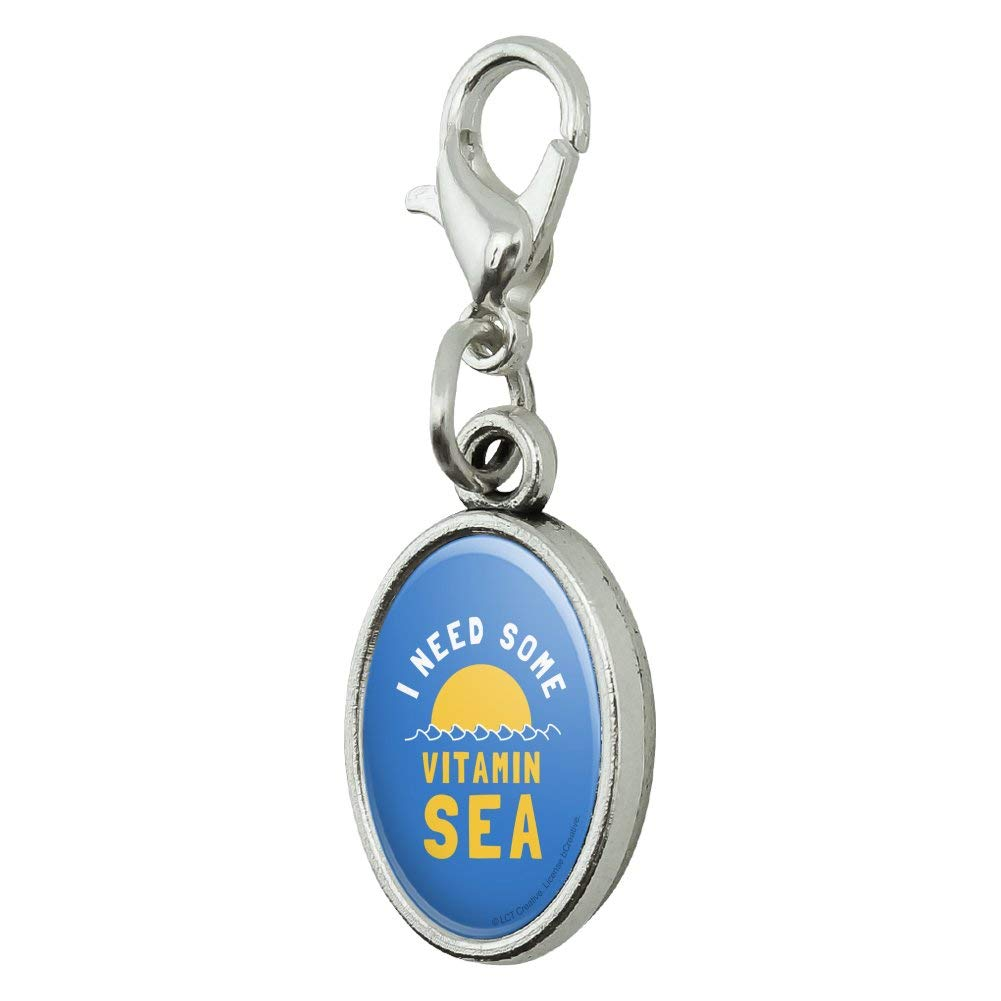 GRAPHICS /& MORE I Need Some Vitamin Sea Beach Funny Humor Antiqued Bracelet Pendant Zipper Pull Oval Charm with Lobster Clasp