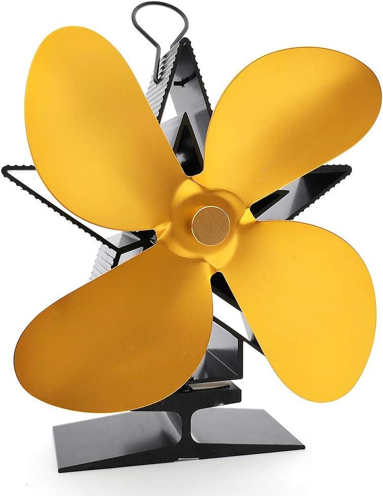 Housesweet Pentagram ventilador de estufa de 4 hojas alimentado por calor, ventilador de horno de leña que quema madera y ventilador ecológico silencioso para chimenea, dorado