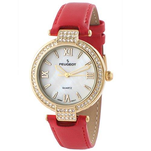 Peugeot Women's 14K Plated Crystal Bezel Dress Wrist Watch w/Red Leather -