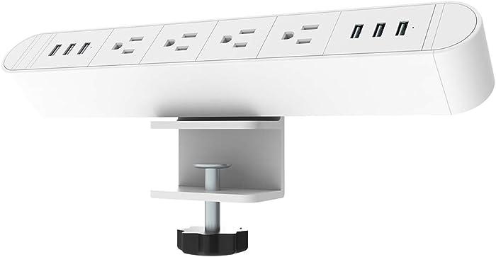 Desk Clamp Power Strip with 4 Outlet 6 USB,The Clamp Edge Mount Power Center,Aluminum Alloy Fireproof Desktop Power Socket,Desktop Charging Station