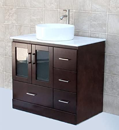 solid wood 36 bathroom vanity cabinet glass vessel sink faucet mc2 - Unfinished Bathroom Cabinets