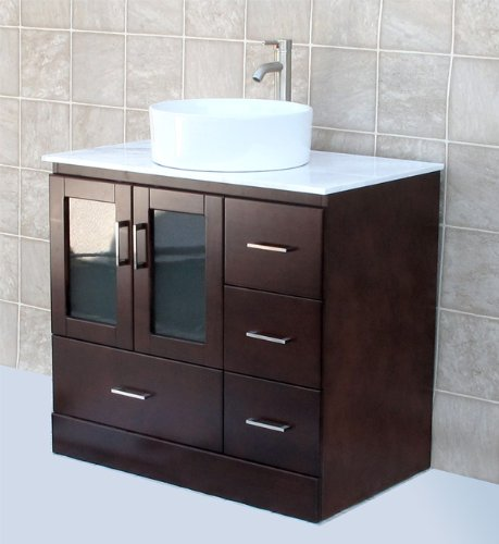 Glass Wood Vanity Cabinet (Solid wood 36