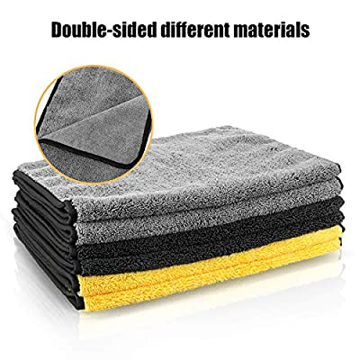 MATCC Microfiber Cleaning Cloths 6 Pack 16'' x 32'' Microfiber Towels for Cars Ultra-Thick Super Absorbent Car Microfiber Towel for Washing Polishing Waxing and Drying Detailing Towel: Automotive
