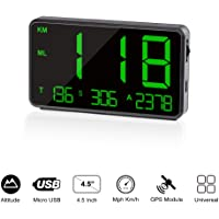 TIMPROVE Universal Digital Car HUD Head Up Display GPS Speedometer with Over Speed Alarm Tired Driving Warning…