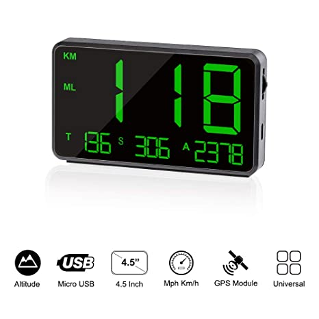 TIMPROVE Universal Digital Car HUD Head Up Display GPS Speedometer with Over Speed Alarm Tired Driving Warning Windshield Project for All Vehicle ...