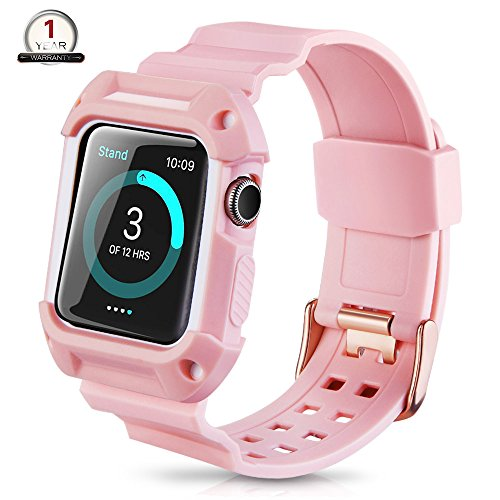 Price comparison product image Apple Watch Band 38mm Protective Case,Youkex Replacement Straps with Rugged Shock-proof Case Cover for iWatch Series 1 Series 2 Series 3 and Sport Edition (Pink/White)