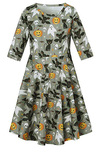 Little Kids Children Niece Schoolchild Ghost Pumpkin Cat Grimalkin pusscat Pussy Skull Bat Star Tank Dresses Clothes Outfit Apparel Gift in Summer Halloween Girl's Wear, Size 7 6