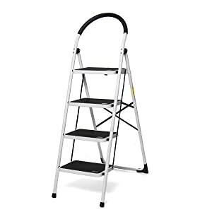 KingSo 4 Step Ladder Folding Step Stool with Convenient Rubber Handgrip and Wide Anti-Slip Pedal Sturdy Steel Ladder, Lightweight 330lbs Capacity
