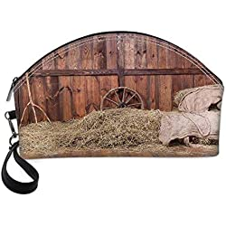 Barn Wood Wagon Wheel Small Portable Cosmetic Bag,Rural Old Horse Stable Barn Interior Hay and Wood Planks Image Print Decorative For Women,Half Moon Shell Shape One size