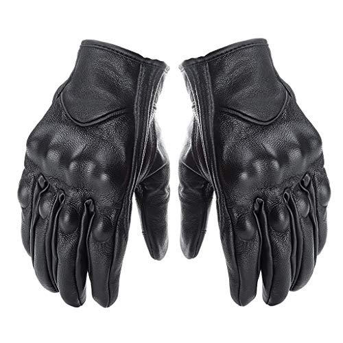 EA-STONE Winter Snow Gloves,Motorcycle Gloves Leather Touch Screen Gloves Men Genuine Leather Cycling Moto Glove