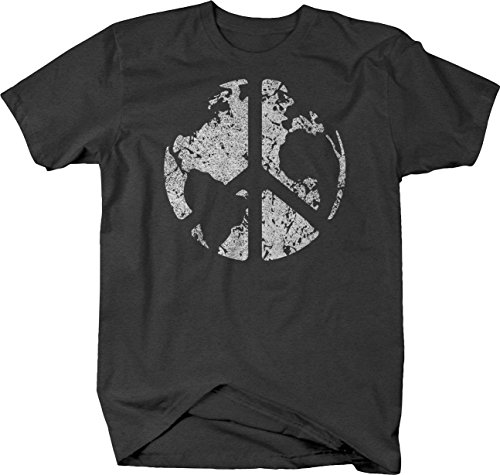 OS Gear Distressed - World Peace Sign Global Harmony & Love Tshirt - (Peace World Peace Sign)