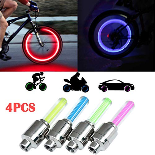 LED Flash Tyre Wheel Valve Cap Light, Bike Bicycle Car Motor Wheel Tire Valve Cap Spoke Neon 4 LED Lights Flash Lamp, LED Bike Wheel Light for Front & Rear Wheel (Yellow, Blue, Green, Red Colorful)