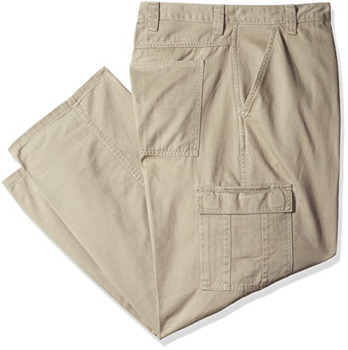 Wrangler Authentics Men's Big & Tall Classic Twill Relaxed Fit Cargo Pant, Khaki Dust, 44 x 32