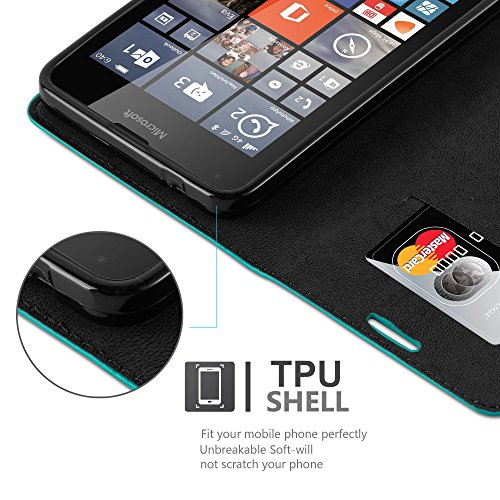 Cadorabo - Funda Book Style Cuero Sintético en Diseño Libro Nokia Lumia 640 - Etui Case Cover Carcasa Caja Protección con Imán Invisible en ROJO-MANZANA TURQUESA-PETROL