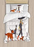 Twin XL Extra Long Bedding Set, Dog Duvet Cover Set, Young Modern Girl Taking Pack of Dog for a Walk in The Rain Fun Joyful Times Artsy Print, Cosy House Collection 4 Piece Bedding Sets