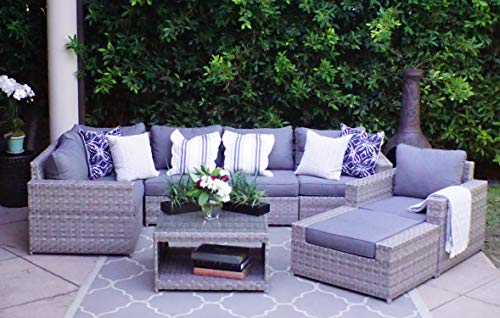 SunHaven Resin Wicker Outdoor Patio Furniture Set – 8 Piece Conversation Sectional Premium All Weather Gray Rattan Wicker, Aluminum Frame with Deluxe Fade Resistant Olefin Cushion Kensington 8 Pcs