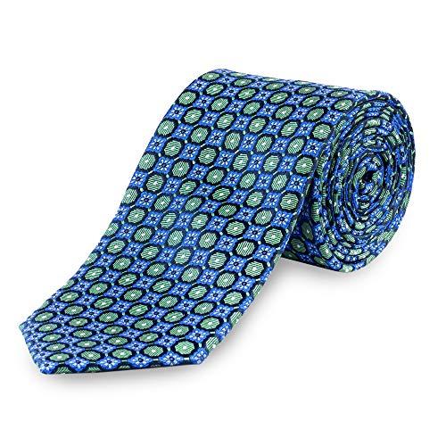 Lantier Designs Men's 100% Silk Medallion Woven Necktie, 3'', Green/Blue