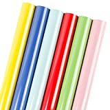 LaRibbons Gift Wrapping Paper Roll - Ribbon Color for Birthday, Holiday, Wedding, Baby Shower Gift Wrap - 6 Rolls - 30 inch X 120 inch per Roll