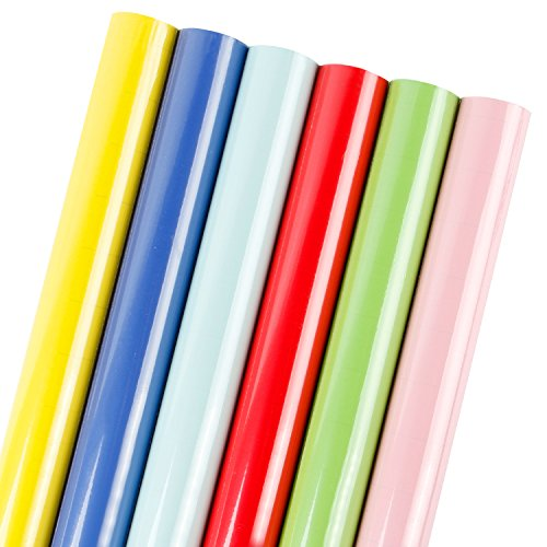 LaRibbons Gift Wrapping Paper Roll - Ribbon Color for Birthday, Holiday, Wedding, Baby Shower Gift Wrap - 6 Rolls - 30 inch X 120 inch per Roll by LaRibbons