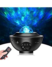 Starlight-projector 2 in 1 nachtlichtprojector oceaangolven projector 10 kleuren nachtelijke hemelprojector met afstandsbediening, bluetooth-luidspreker voor slaapkamerdecoratie