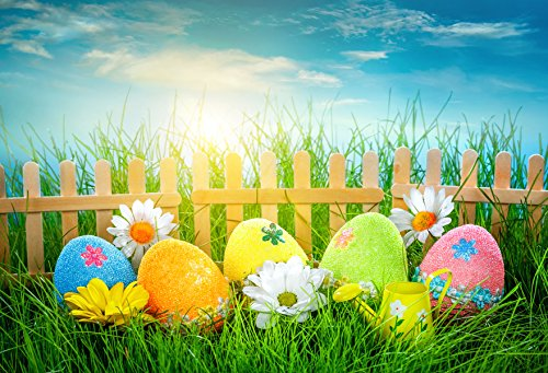 7x5ft Easter Photography Backdrops Colorful Eggs Fence Easter Background Green Grass Photo Booth Props Seamless Backdrop]()