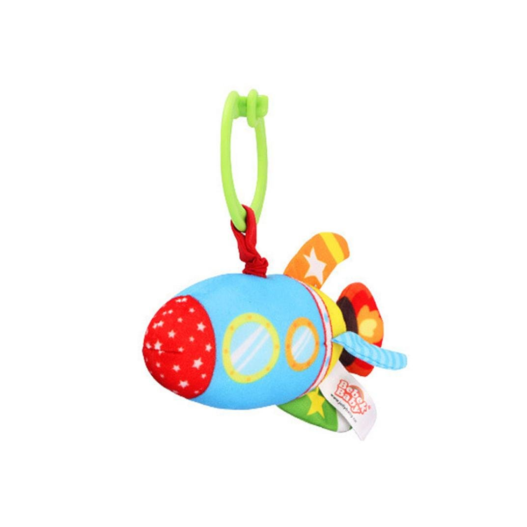 Gbell Stuffed Wrist Rattles for Baby Boy Small Hand Bell Soft Plush Car Boat Rocket Submarine Toys for Toddler Infant 0-36 Months (D)