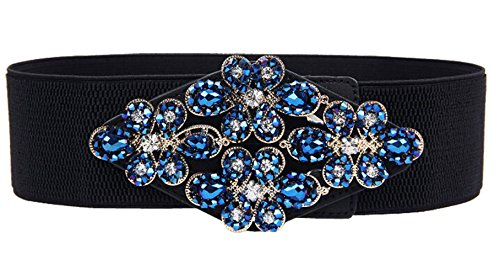 [E-Clover Fashion Floral Rhinestone Buckle Women's Elastic Waist Cinch Belt for Dress (Navy Blue)] (Buckle Cinch Belt)