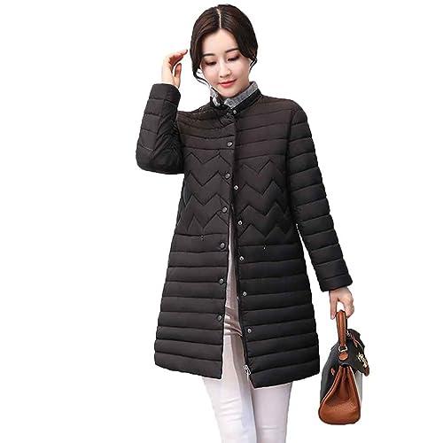 KOROWA Abrigo de algodón delgado para mujer de invierno Abrigos con cremallera Chaquetas delgadas
