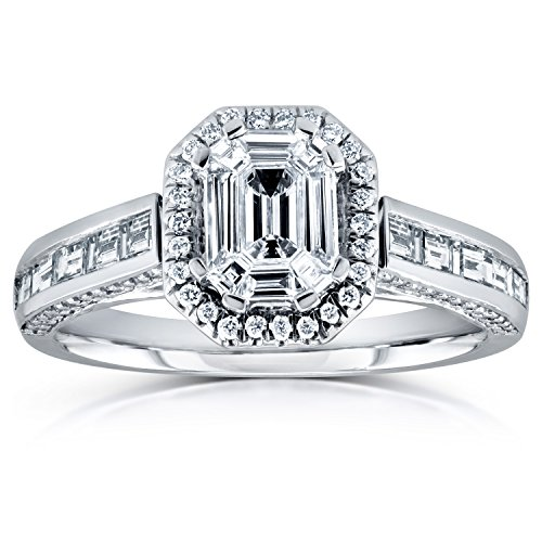 - Kobelli Emerald and Baguette Diamond Art Deco Engagement Ring 1 1/6 CTW in 14k White Gold