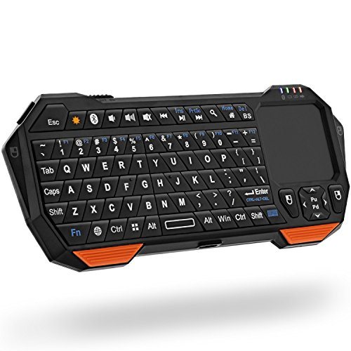 (Fosmon Portable Lightweight Mini Wireless Bluetooth Keyboard Controller (QWERTY keypad) w/ Built-In Touchpad for Apple / Android / Windows Smartphones, Tablets, PS4, Laptop, Notebook - Black & Orange)