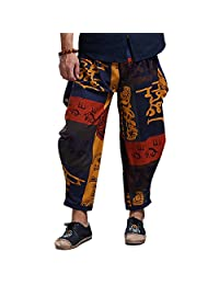 Mens Womens Boho Hippie Baggy Cotton Harem Pants with Pockets Yoga Pants