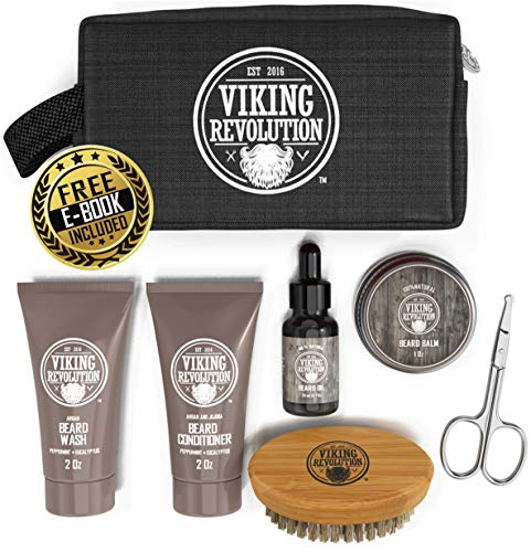 Beard Care Kit for Men Gift - Beard Grooming Kit Contains Travel Size Beard Oil, Beard Balm, Beard Shampoo & Conditioner, Beard Brush and Grooming Scissors - Includes Travel Case (Original)