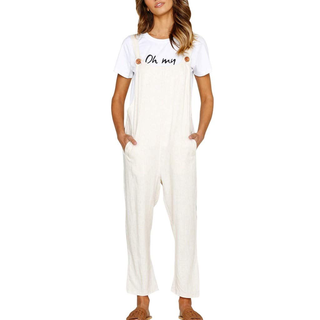 〓COOlCCI〓Women's Baggy Wide Leg Plus Size Overalls Jumpsuit Harem Pants Casual Rompers with Pockets White