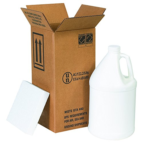 """Boxes Fast BFHAZ1130 Haz Mat Plastic 1-Gallon Jug Shipping Kit, Includes Foam Inserts and Plastic Jug with Cap, 6"""" x 6"""" x 12 3/4"""""""