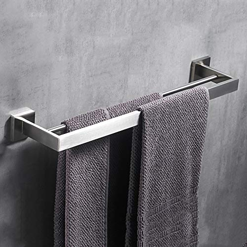 - VELIMAX Premium Stainless Steel Double Towel bar 23.6-inches Wall Mount Double Towel Rail Towel Rod for Bathroom Contemporary Style, Brushed Finish