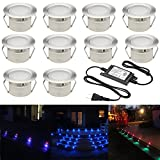FVTLED Pack of 10 Low Voltage IP67 Waterproof Outdoor LED Color Changing Deck Light Kit multi -color Garden Yard Patio Stairs Landscape Home Decoration Lamp(RGB)