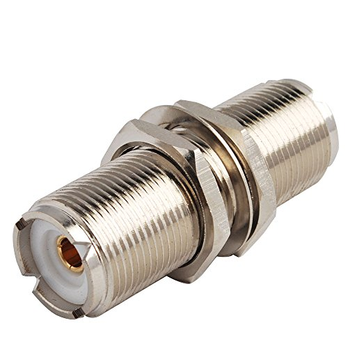 Eightwood 2pcs SO239 Adapter UHF Female to Female Jack Bulkhead RF Connector ()