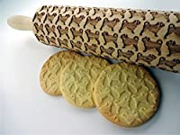 PUG Embossing Rolling Pin. Mops Dog pattern. Engraved rolling pin with PUGS for embossed cookies. Dog mini mastiff. Carlin