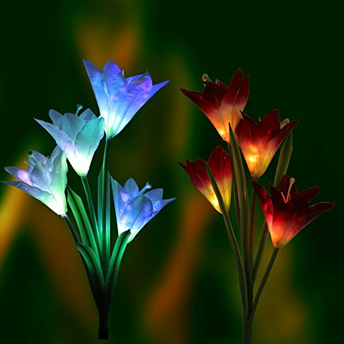 LED Solar Garden Lights LED Solar Powered Garden Stake Lights Outdoor Path Lights with 8 Lily Flower, Multi color Changing for Garden Patio Backyard, Denknova (2 Packs Purple and White)