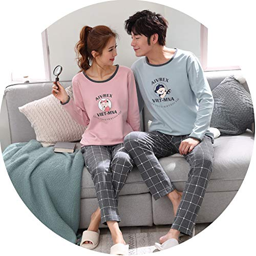 Sleepwear Men Long Sleeve Cotton Cartoon Pajamas Male Full Set Sleepwear Man Solid Sleep,Men -