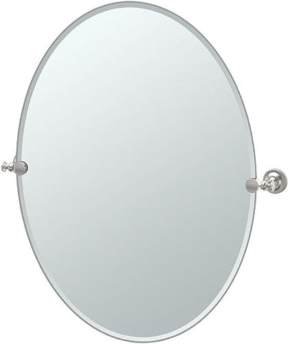 Gatco 4029LG Tavern Large Oval Mirror, Satin Nickel