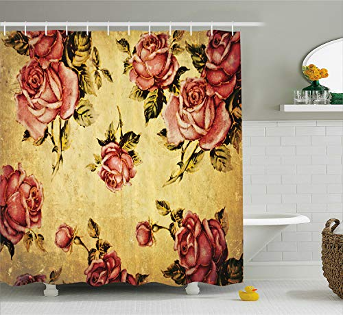 - Ambesonne Roses Decorations Shower Curtain, Old-Fashioned Victorian Style Rose Pattern with Dramatic Color Boho Art Design, Fabric Bathroom Set with Hooks, 69W X 70L Inches, Mustard Pink