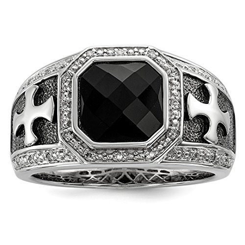 925 Sterling Silver Diamond Black Onyx Cross Religious Mens Band Ring Size 11.00 Man Fine Jewelry Gift For Dad Mens For Him - Earrings Star Onyx