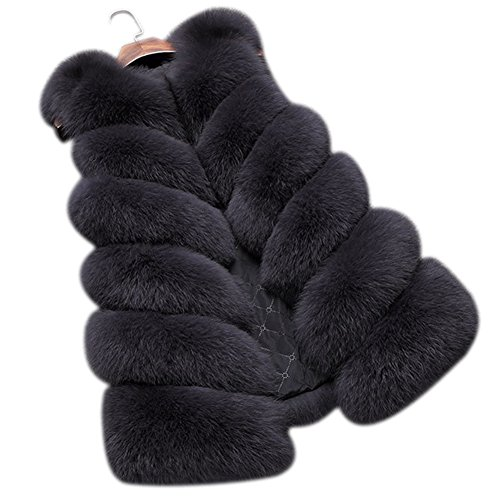 Dikoaina Fashion Women's Warm Long Faux Fox Fur Vest Waistcoat Sleeveless Jacket Coat (L, ()