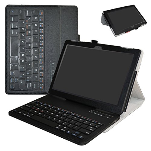 Lenovo Tab 4-10 Inch Bluetooth Keyboard Case,Mama Mouth Slim Stand PU Leather Cover With Romovable Bluetooth Keyboard For 10.1'' Lenovo Tab 4-10 Inch ZA2J0007US Android 7.1 Tablet,Black by MAMA MOUTH