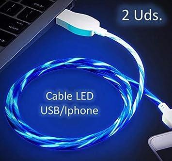 NOVEDAD Pack 2 unidades de Cable de Carga para movil con LED- FLOW. (Ilumina el cable de carga del teléfono con ...