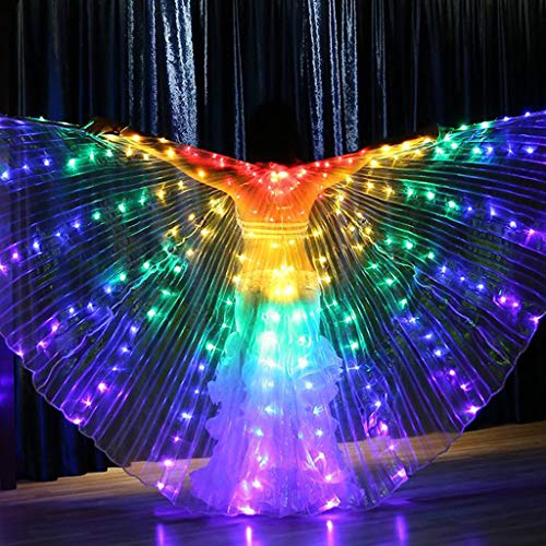 CapsA Wings Glow Light Up Belly Dance Costumes Performance Clothing Carnival Halloween LED Angel Wings for Carnival Stage Halloween Christmas Party with Telescopic Sticks (A)]()