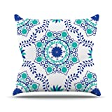 Kess InHouse Anneline Sophia ''Let's Dance Blue'' Teal Aqua Outdoor Throw Pillow, 18 by 18-Inch