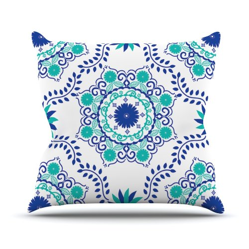 Kess InHouse Anneline Sophia ''Let's Dance Blue'' Teal Aqua Outdoor Throw Pillow, 18 by 18-Inch by Kess InHouse