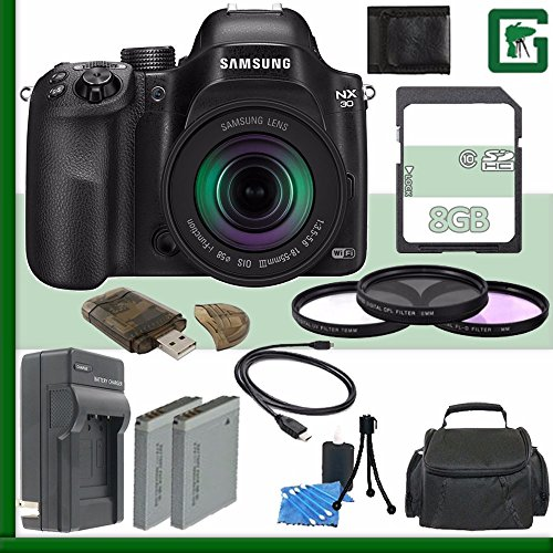 (Samsung NX30 Mirrorless Digital Camera with 18-55mm f/3.5-5.6 OIS Lens + 8GB Green's Camera Bundle 1)